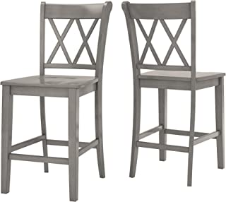 Inspire Q Eleanor Double X-Back Wood 24-inch Counter Chair (Set of 2) by Classic Grey Antique, Distressed