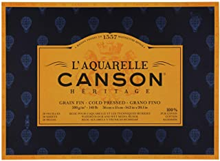 Canson Heritage Watercolour Pad, Glued on 4 Sides, 20 Sheets, fine Grain Fine grain 36 x 51 cm