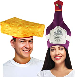 Tigerdoe Couples Costumes - Wine & Cheese Couples Hat – Food Hats – Funny Costumes for Adults – 2 Pk
