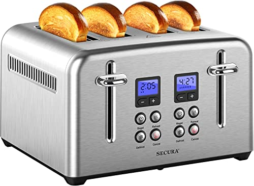 discount Secura Toaster 4 Slice online sale Stainless Steel Extra Wide Slots for Bagel Bread with Defrost Reheat Function Removable Crumb online Tray Compact Size outlet sale