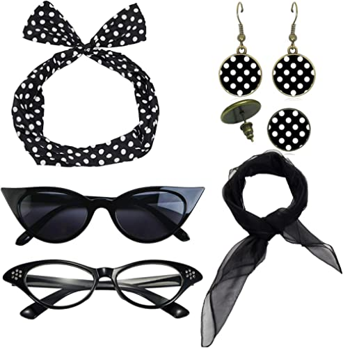 1950's Womens Costume Accessories - 50s Chiffon Scarf,Cat Eye Glasses,Bandana Tie Headband,Drop Dot Earrings
