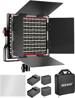 Neewer Dimbar tvåfärgad 660 LED-videolampa med uppladdningsbart batteri och laddare 6 600 mAh belysningsset 3200–5600 K, C...