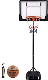 "CozyFit Portable Hoop & Goal Basketball System Height Adjustable 65""-104"" Come with Basketball & Ball Pump"