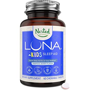 Luna Kids | #1 Sleep Aid Tablets for Children & Sensitive Adults | Naturally Sourced Ingredients | 60 Chewable Pills | Gentle Herbal Supplement with Chamomile, Melatonin, Valerian & Lemon Balm