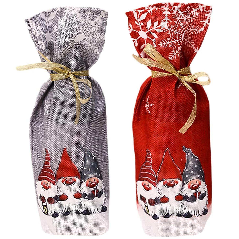 状ビュッフェ出席するCabilock 2Pcsクリスマスワインボトルカバーシャンパンボトルスリーブスウェーデントムテノームワインボトル服ワインボトルカバーバッグクリスマスパーティー家庭用品用