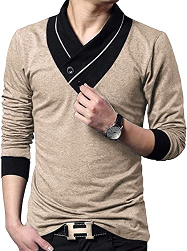 V Neck Shawl Collar Stylish Men s Solid T Shirt