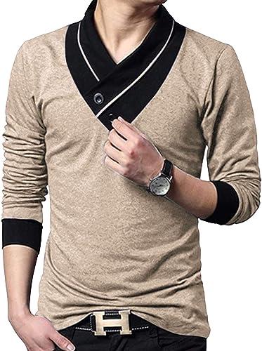 V Neck Shawl Collar Stylish Men s Solid T Shirt