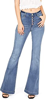 Celebrity Pink Women's Juniors High Waisted Flared Bell Bottom Jeans