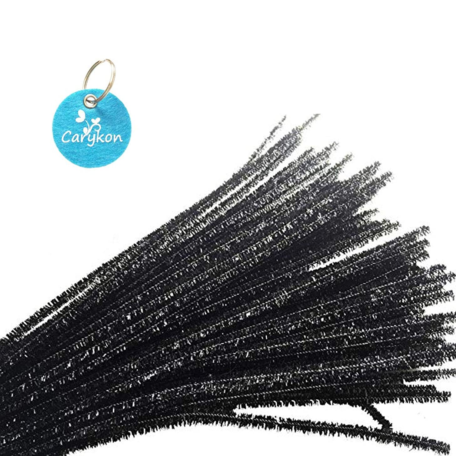 Caryko Tinsel Creative Arts Chenille Stems 6 mm x 12 Inch, Pack of 200 (Black)