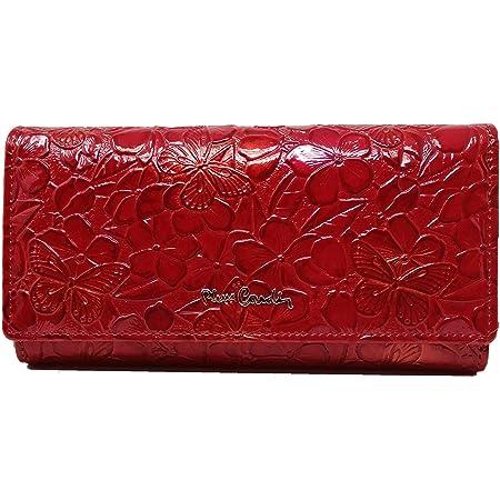 PIERRE CARDIN Cartera de mujer, hermosa, grande, espacioso, cuero, rfi, regalo, cartera con monedero, billetera para niña, rojo,