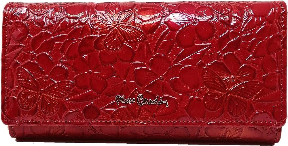Pierre cardin, portafoglio grande, porta carte di credito per donna, ecopelle vernice premium