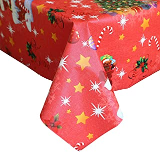 LEEVAN Heavy Weight Vinyl Rectangle Table Cover Wipe Clean PVC Tablecloth Oil-proof/Waterproof Stain-resistant-54 x 84 Inch(Snowman-Red)