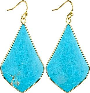 Women's Large Rhombus Stone Crystal Dangle Drop Earrings Teardrop/Oval