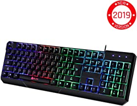 KLIM Chroma Gaming Keyboard - Wired USB Backlit, Ergonomic, Quiet, Water Resistant with Led Rainbow Lighting - Black RGB PC Windows PS4 Mac Keyboards - Teclado Gamer Silent Keys with Light Color