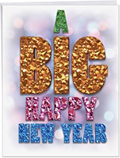 NobleWorks - Big Happy New Year Festive Card with Envelope (8.5 x 11 Inch) - Colorful Celebration Greeting for New Years (Not Foil) J4291NYGC