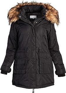 Madden Girl Women's Heavyweight Puffer Anorak Jacket with Sherpa Fur Lined Hood