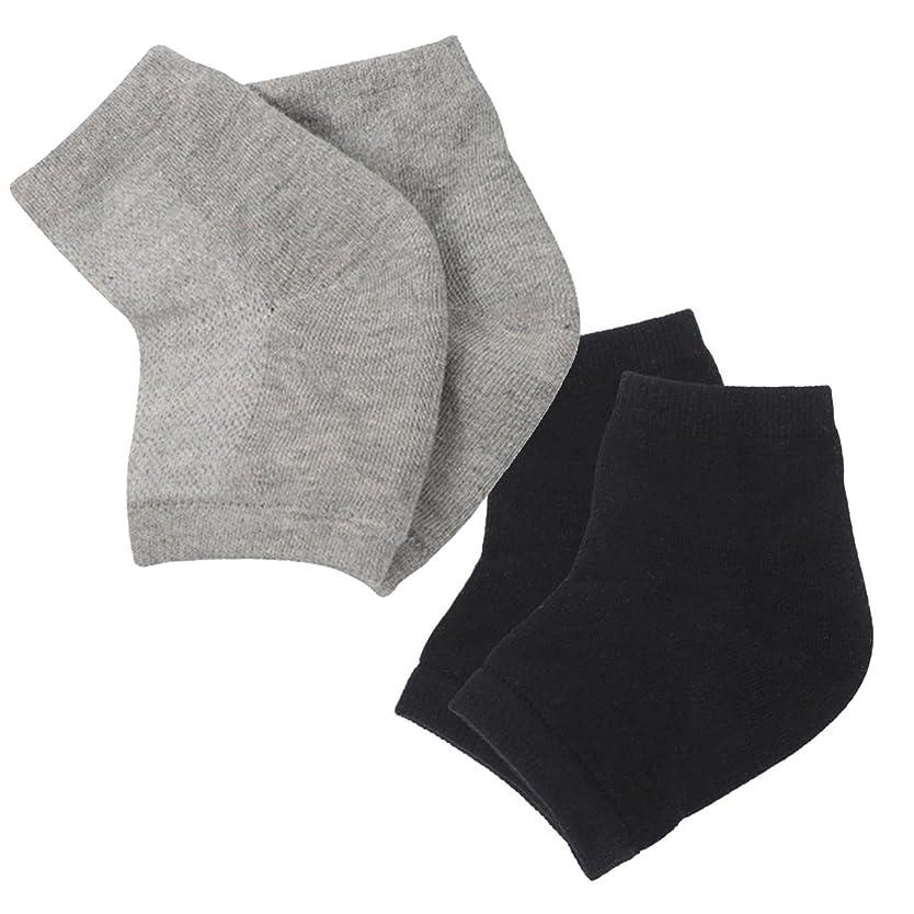 お気に入り楽しい抑圧(アクアランド) AQUALAND かかと 保湿ソックス ツルツル 乾燥 カサカサ 履くだけ 簡単 洗える シリコン 指だし 削らない 塗らない 寝ている間に 男女兼用 サイズフリー 2足組セット (ブラック+グレー)