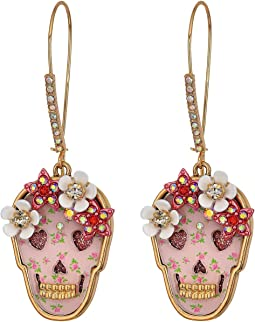 Floral Skull Long Drop Earrings