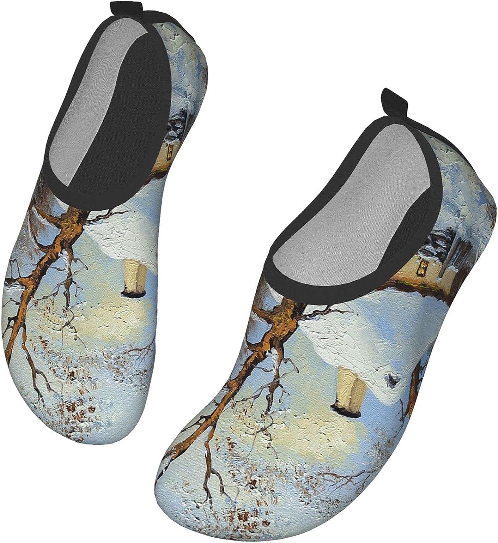 IBILIU Rural Landscape Water Shoes,Old Village Fine Art House Tree Frost Quick-Dry Barefoot Aqua Socks