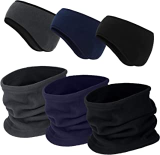 6 Pieces Fleece Ear Warmers Headband Winter Neck Gaiter