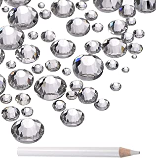 LPBeads 3456 Pieces Nail Crystals AB Nail Art Rhinestones Round Beads Flatback Glass Charms Gems Stones, 6 Sizes for Nails Decoration Makeup Clothes Shoes (Mix SS3 4 5 6 8 10, Crystal Clear)