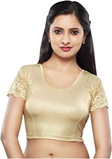 Gold Shimmer Lace Sleeve Strechable Ready-made Saree Blouse Choli