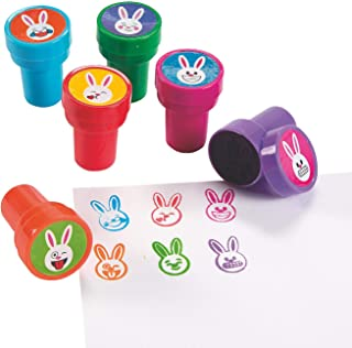 Fun Express Easter Bunny Emoji Face Stampers (24 Pieces) Great for Baskets, and Party Favors