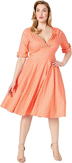 Plus Size Pantone x Unique Vintage 1950s Delores Swing Dress with Sleeves