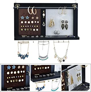 Kullavik Wall Mounted Jewelry Organizer Armoires Decor Display Shlef Storage for Necklaces,Bracelets,Ring Holder,Earings Wire Mesh,Velvet Earring Display,Incl.Hooks for Hanging Jewelries(Black)