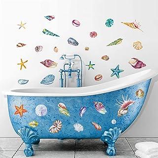 decalmile Stickers Muraux Coquillages et Étoile De Mer Autocollant Décoratifs Océan Plage Décoration Murale Chambre Bébé P...
