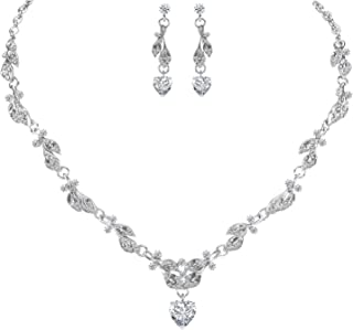 LILIE&WHITE Bridal Necklace Earrings Fashion Jewelry Set for Women Brides Bridesmaids in Heart Shape Pendant Cubic Zircon Jewelry CZ