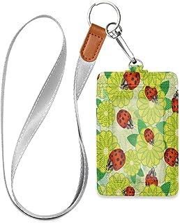 HMZXZ Porte-badge d'identification vertical en cuir synthétique avec cordon détachable Motif coccinelle et coccinelle Pour...