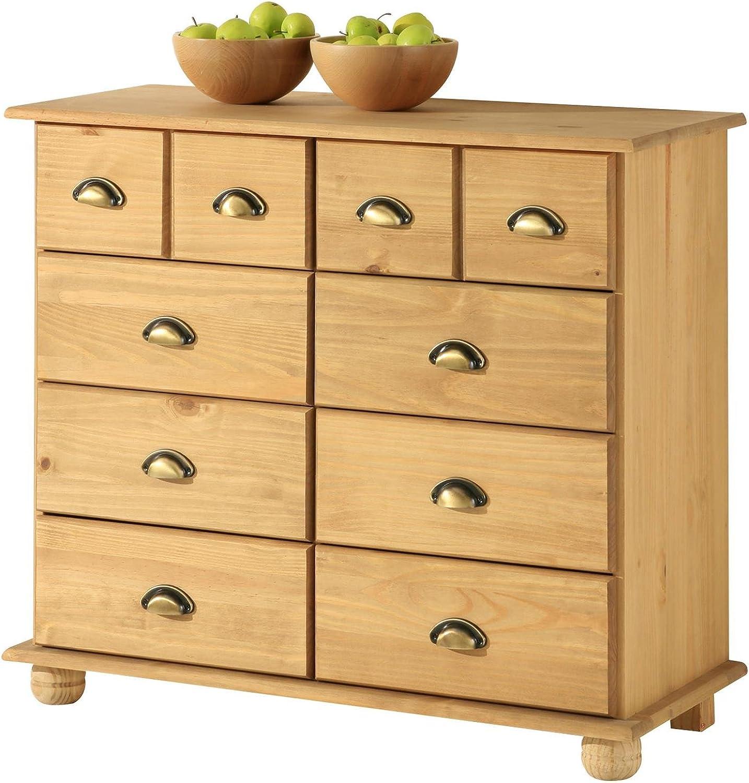 IDIMEX Apothekerkommode Kommode Apothekerschrank Sideboard Colmar, 8 Schubladen, gebeizt gewachst
