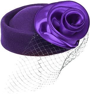 Fascinator Women's Wool Pillbox Bowler Hat with Flower Netting Veil