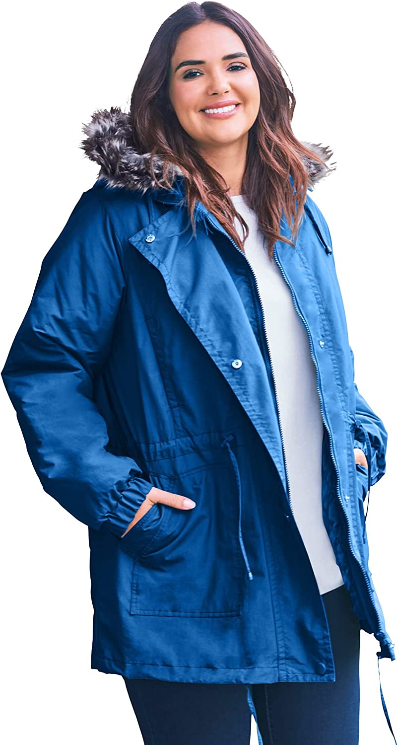 Woman Within Women's Plus Size Quilt-Lined Taslon Anorak Jacket