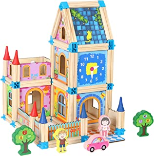 Wondertoys 128 Pieces Wooden Castle Dollhouse with 2 People DIY Architecture Model Set Pretend Play Educational Toys for 3 Years Old Boys and Girls Gifts