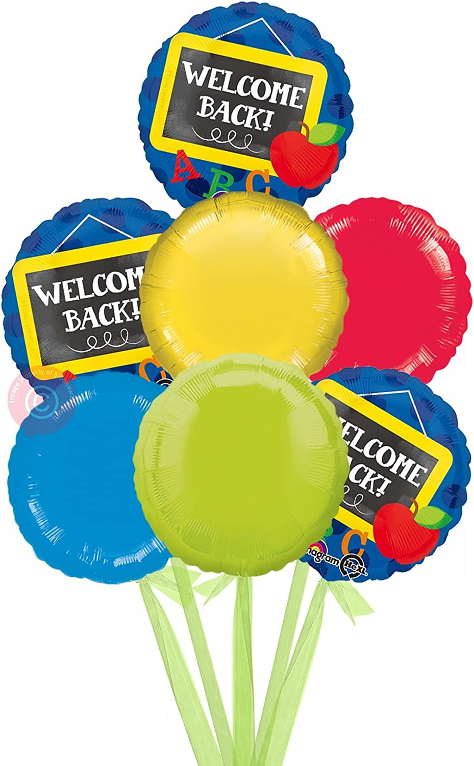 Welcome Back to School  Inflated Welcome Helium Balloon Delivered in a Box  Bigger Bouquet  7 Balloons  Bloonaway