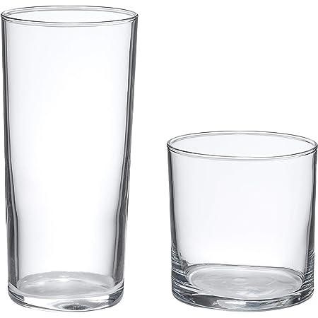 Amazon Basics Ridgecrest 16-Piece Old Fashioned and Coolers Glass Drinkware Set