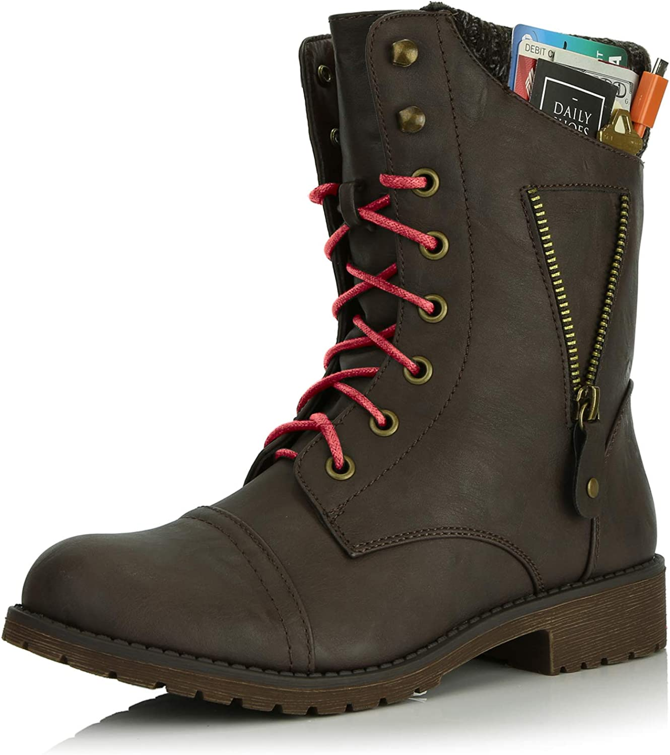 DailyShoes Women's Military Lace Up Buckle Combat Boots Zipper Sweater Ankle High Exclusive Credit Card Pocket, Red
