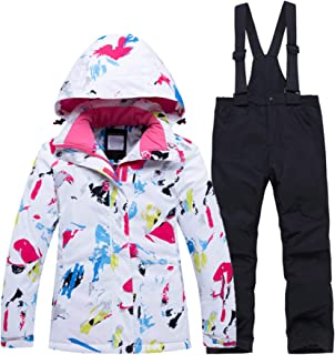 PENER Girls Warm Thick Ski Jacket Windproof Waterproof Snowsuit Set
