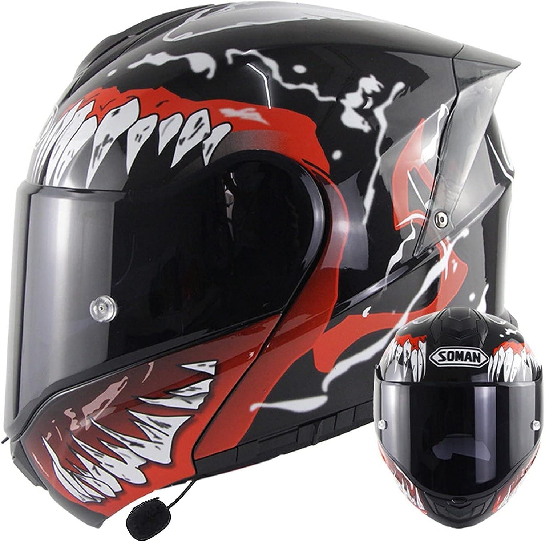 Casco De Moto Modular Bluetooth Integrado Mujer Hombre DOT ECE Homologado Cascos Abiertos De Moto Con Doble Visera Lente Grande Cascos Integrales De Moto Ventilado Casco Ligero Moto A,XL=59~60CM
