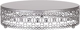 Amalfi Decor 16 Inch Cake Stand Plateau Riser, Large Dessert Cupcake Pastry Candy Display Plate for Wedding Event Birthday Party, Round Metal Pedestal Holder with Crystal Gems, Silver