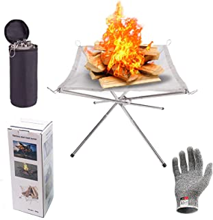 Outdoor Fire Pit, 22inch Collapsing Stainless Steel Mesh with Cut Resistant Gloves and Carrying Bag for Camping, Firepit f...