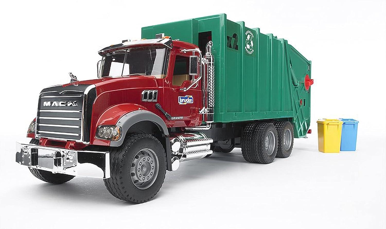 Bruder 02812 Mack Granite Rear Loading Garbage Truck (Ruby Red G
