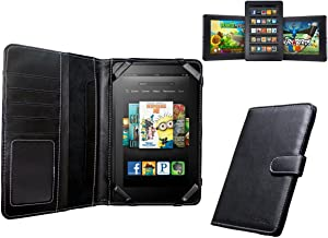 Navitech Genuine Black Napa Leather Flip Open Book Style Carry Case Cover Compatible with The Kindle Fire HD 7 Inch Tablet...
