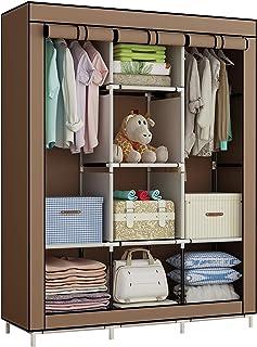 YAYI Garde-Robe Organisateur de Stockage de vêtements Armoire Toile avec 2 Rails Accrochants et 6 étagères Marron