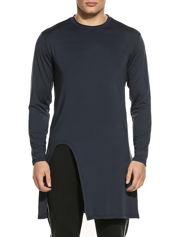 Coofandy Men's Fashion Long Hem Long Sleeve Slim Fit Pullover T Shirt