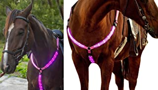 NEFTF LED Horse Breastplate Collar Bridle Halter High Visibility Tack for Night Horse Riding