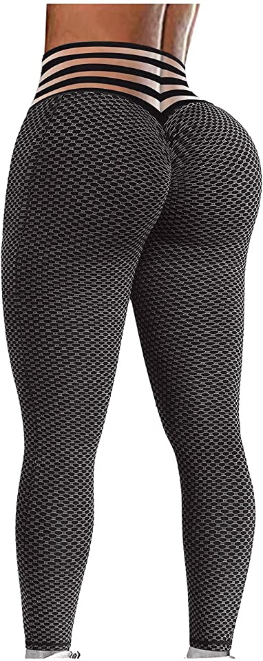 Yoga Pants High Waisted Leggings for Women, Women Yoga Pant for Butt Lifting, Bubble Hip Lift Workout Pants with Pockets