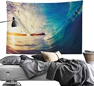 Decor Tapestry,Ocean,Sunrise on Waves Surfer Perspective Surreal Coastal Charm Sports Lifestyle Scene, Blue Pale Mauve Bedroom Living Room Dorm Decor60 x80